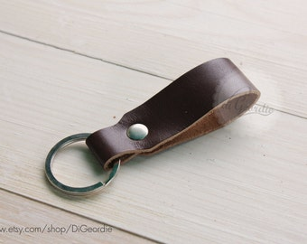 Brown leather keychain genuine leather key fob mens leather key chain thick leather key holder belt strap leather keychain leather key ring