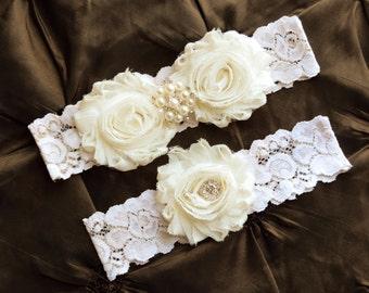 Wedding Garter Set, Bridal Garter Set - Ivory Lace Garter, Keepsake Garter Toss Garter, Ivory Wedding Garter, Ivory Wedding Garter Belt