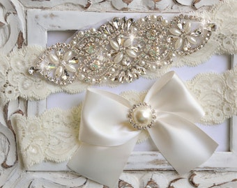 Wedding Garter Set – Ivory Lace Bridal Garter with Crystals – Vintage Inspired Keepsake and Toss Garters – Rhinestone Garter