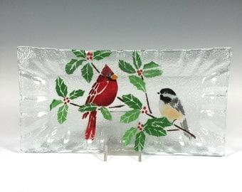 Cardinal and Chickadee Fused Glass Tray