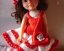 Crochet Doll Dress, hat and handbag, for 16 inch doll, Christmas doll clothes. Hand Crochet doll outfit, handmade doll clothes, 18 inch doll