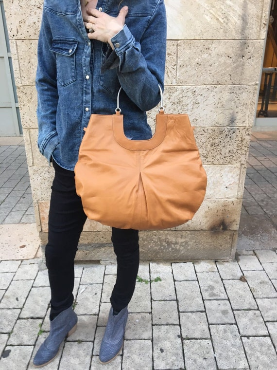 Mustard Leather Tote Bag / Women Brown Leather Bag / Cross Body Bag / Casual Leather Purse / Lined Leather Bag / Every Day Bag - Polo