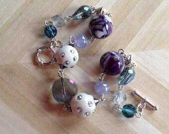 Purple and White Bracelet, Glass Bracelet, Beadwork Bracelet, Beadwork Jewelry, Beaded Jewelry, Beaded Bracelet