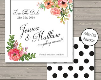 DIY Printable Save The Date - Pretty Floral Watercolour Save The Dates Invitation