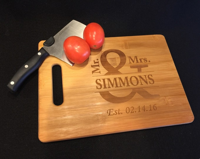 Mr & Mrs Cutting Board, Personalized Engraved Bamboo Kitchen Cutting Board, Cheese Board, Wedding Gift, Valentines, Anniversary Gift