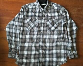Brown Plaid Flannel Shirt. Size M/L.