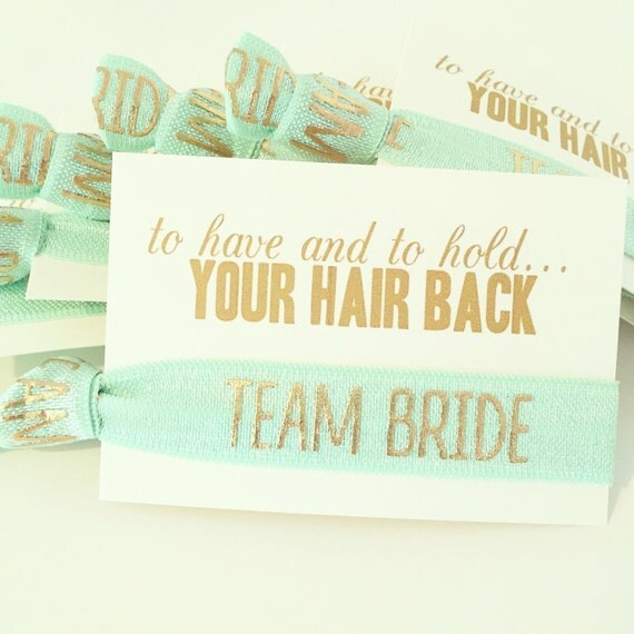 Mint + Gold Team Bride Hair Tie Favors | Mint Bridesmaid Gift Hair Ties, Mint + Gold Bridal Shower Favor Hair Ties, Mint Green Wedding Favor