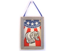 Republican Elephant Picture, Republican Magnet, Office Decor, Office Gift, Thank You, Small Gift, Gift For Him, Gift For Her, Fridge Magnet