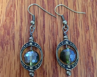 Green Bead & Saturn Ring Earrings.  BC0200