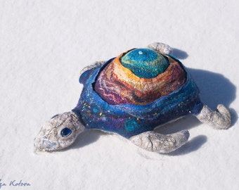 The Cosmic Turtle. Felt pillow.