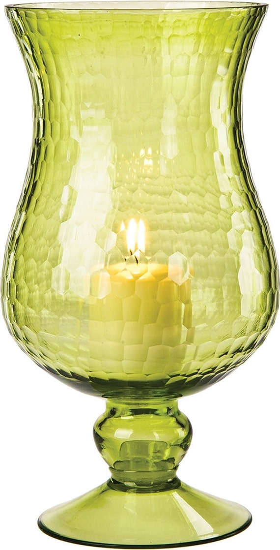 Large chartreuse green glass hurricane candle holder votives