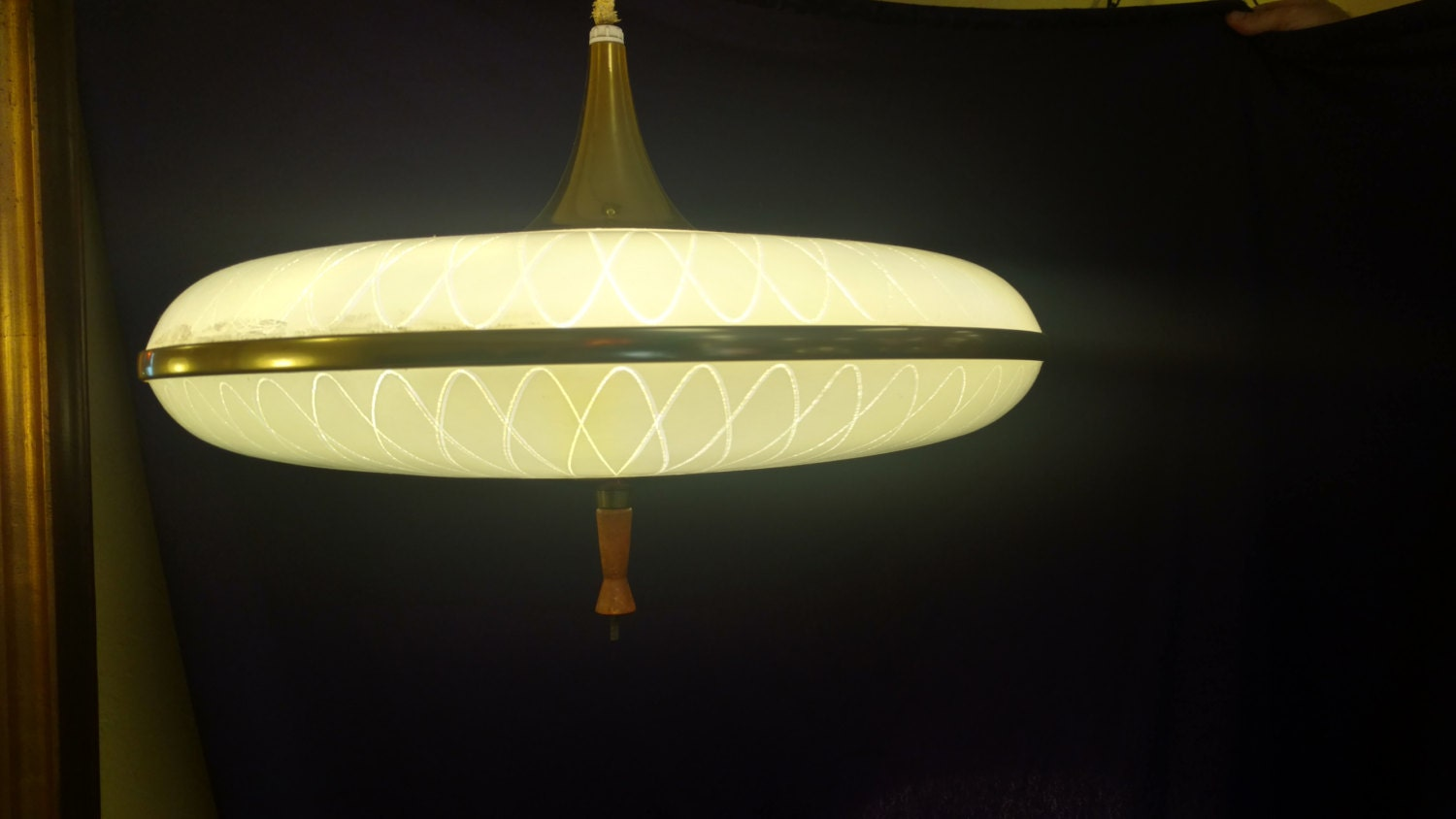 atomic lighting mid century saucer retractable l