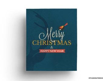 Christmas printable decor - Printable wall art, reindeer , Merry Christmas - 60% OFF