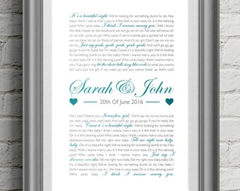 First Dance Lyric Poster / Wedding Gift / Custom Song Lyric poster / Typographic Poster / Graphic Design