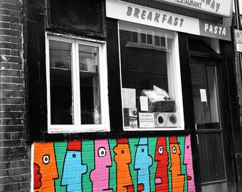 London Graffiti Photography, Street Art Print, Colorful Faces, Kitchen Decor, black and white, Urban, pink red orange blue green wall art