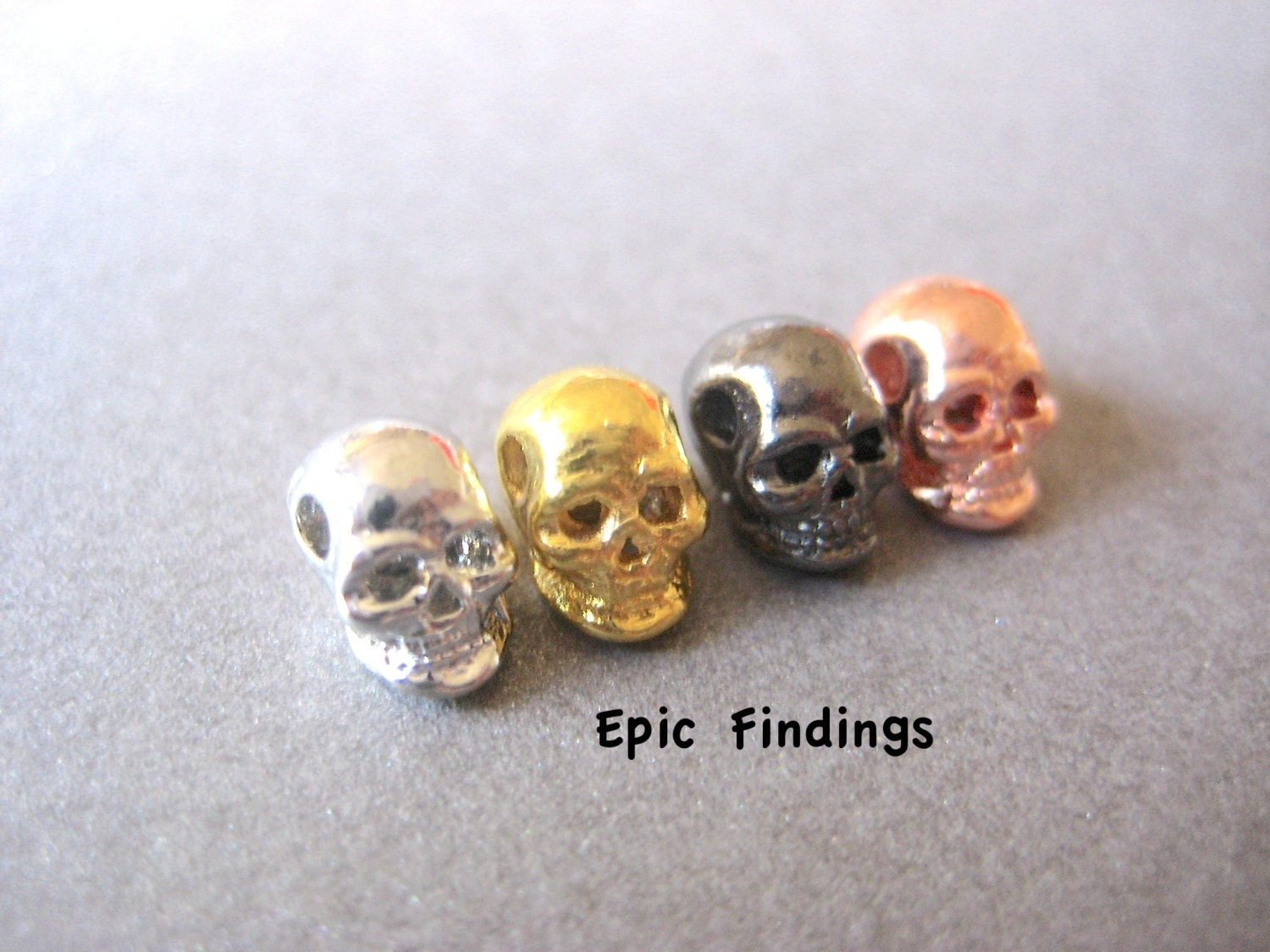 10pc metal skull bead mix gun metal skull silver skull gold
