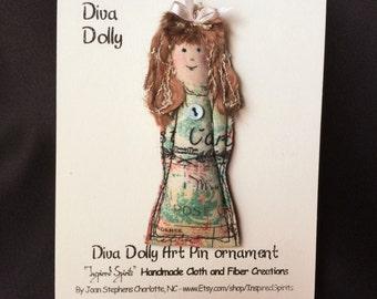 Fabric doll pin, Fiber Art Doll pin, Diva Dolly pin, textile pin, doll brooch, fiber pin, fabric doll brooch, Dolly pin #6