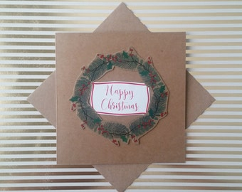 Square Kraft Wreath Card: Nature Christmas Card - Brown Christmas Card with Envelope - Holiday Card - Blank Card - Minimalist Card