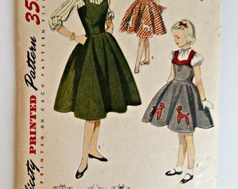 Simplicity Pattern 3647 - 1950s Poodle Dress, Jumper and Blouse with Poodle Transfer
