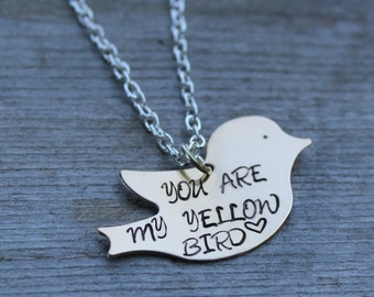 You Are My Yellow Bird Necklace or Keychain - Bright Eyes - You're the Yellow Bird That I've Been Waiting For