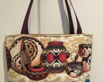 Southwestern Style Pottery Print Large Tote