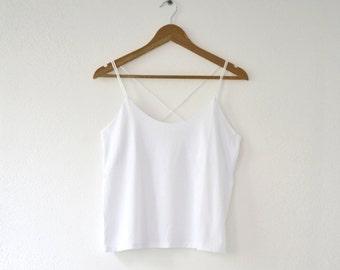 White tank Top, Women's Blouse, spaghetti strap top, Boho White top, festival tank tops, cotton clothing, gift for her