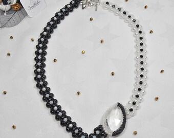 SALE - Monochrome pearl necklace, Art deco, Black and white jewellery, Statement necklace, Unique necklace, Art nouveau, Luxury gift idea