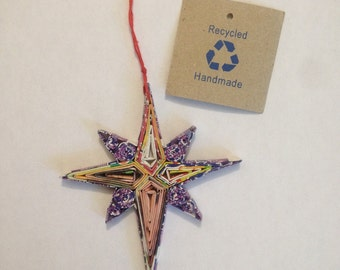 Eco-Art Star Ornament, Quilled Recycled Paper Christmas Ornament, Moravian Star, Compass Rose