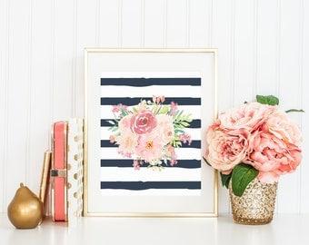 Coral Blush Peach Pink Watercolor Florals Flower Bouquet Navy Stripes Girls Nursery Printable Print Wall Art Nursery Decor Watercolor Art