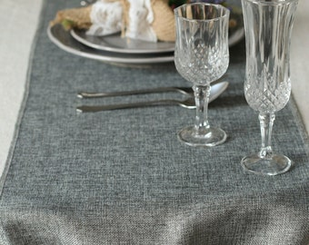 """14 inch Grey Burlap Table Runner-Length Available for 48"""" 60"""" 72"""" 84"""" 96"""" 108"""" 120"""" 132"""" 156""""-Rustic Wedding Party Decor FUBX034CM-GRE"""