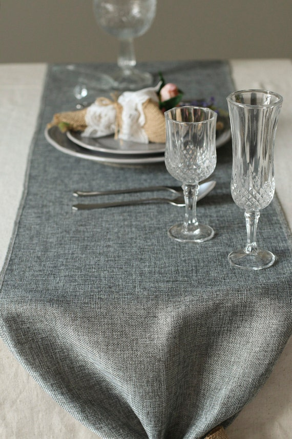 14 Inch Grey Burlap Table Runner Length Available For 48