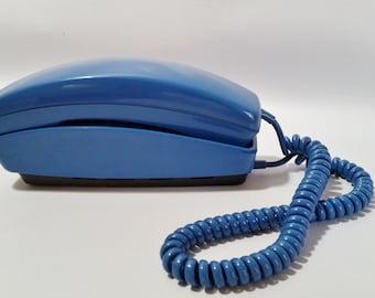 Working Push Button Phone, Blue Push Button Phone, Trimline Phone, Vintage Phone