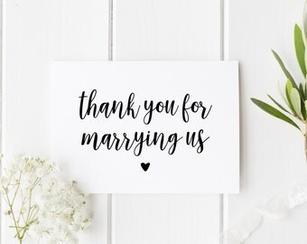 Thank You Wedding Card, Thankyou Officiant Card, Thank You For Marrying Us, Card To Priest, Card To Judge, Thank You Officiant Wedding Card