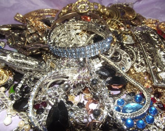 Broken Bling Jewelry Lot Destash Costume Jewelry  for Craft Projects Repurposed Assemblage Pendants Necklaces LOT  1
