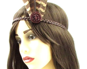 Red Indian Native American Feather Headdress Headband Brown Pocahontas Boho 619