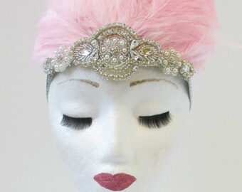 Light Pink Feather Headdress Burlesque Headpiece Vintage 1920s 1940s Silver T87 Las Vegas Showgirl Headband 1930s Flapper Glitter