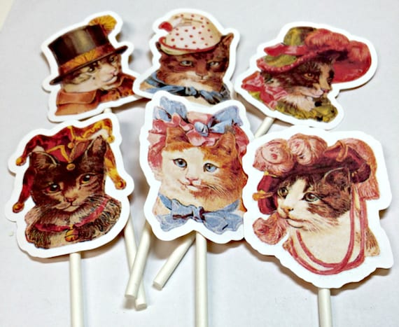 Cupcake Toppers - Vintage Cats in Hats,Food Picks, Birthday Party Decorations, Victorian Cats, Cat Birthday Party,Cat Themed Party,Cat Lover