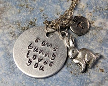 "Silver ""Some Bunny Loves You"" Necklace Handstamped Rabbit Charm Initial Jewelry"