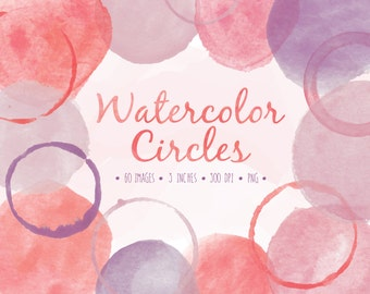 Watercolor Circles Clip Art. Hand Painted Bubbles. Hand Drawn Clipart Frames. Hand Painted Digital Watercolor in Pink, Lavender and Red.