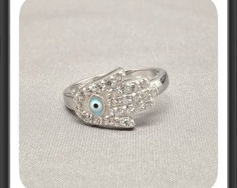 "Beautiful 925 Sterling Silver Ring, ""Hamsa Hand And Evil Eye"" design With Fine Quality Cubic Zirconia"