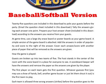 Baseball/Softball Family Feud - Printable Game -  Team Party Game -  Party Game  -  End of Season Party - Family Friendly Game