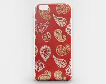 Paisley iPhone 8 Case Boho Chic iPhone 6 Case Red iPhone 7 Plus Case iPhone X Case iPhone 8 Plus Case iPhone 4 5 Paisley Galaxy S8 Plus Case