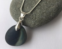 """Seaham End of Day Slag-Glass necklace (silver plated findings and plated 16"""" chain) - Perfect for someone who loves the ocean!"""