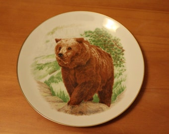SALE Vintage Grizzly Bear Decorative Plate, Brown Bear, Waterfall, Hand Painted, China Plate, No Markings (C089)