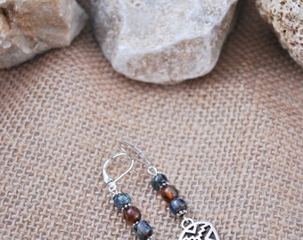 Tribal triangle silver tone earrings, Ethnic earrings, boho hippie earrings, rustic bohemian earrings, glass beads tribal earrings.