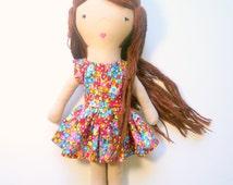 Dress up fabric doll, yarn hair rag doll, cloth doll