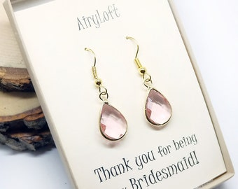 Bridesmaid gift Light PInk Earrings. Teardrop earrings. Bridesmaid earring. bridesmaids jewelry, Wedding jewelry, Wedding Party gifts
