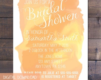 Peach Watercolor Bridal Shower Invitation