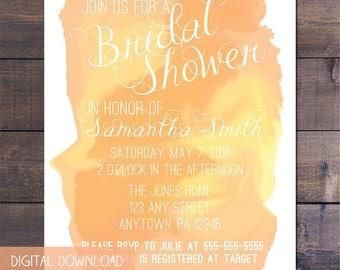 Peach Watercolor Bridal Shower Invitation
