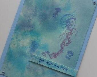 Go with the flow ocean-themed greeting card from Hawaii with jellyfish v. 3
